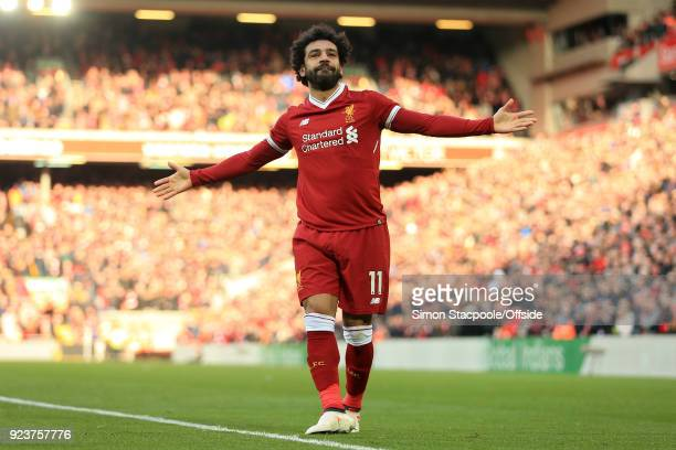Mohamed Salah of Liverpool celebrates after scoring their 2nd goal during the Premier League match between Liverpool and West Ham United at Anfield...