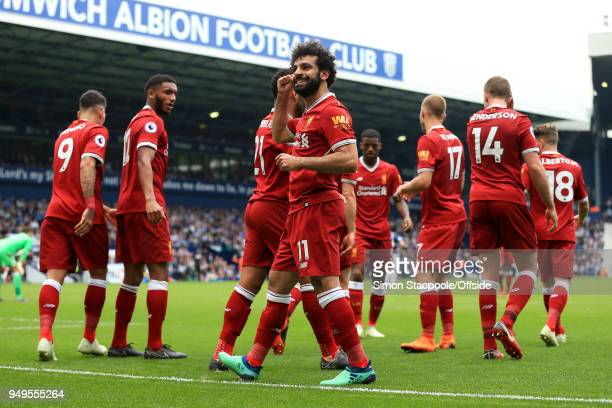 Mohamed Salah of Liverpool celebrates after scoring their 2nd goal during the Premier League match between West Bromwich Albion and Liverpool at The...