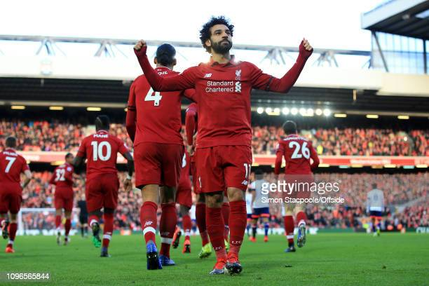 Mohamed Salah of Liverpool celebrates after scoring their 3rd goal during the Premier League match between Liverpool and AFC Bournemouth at Anfield...
