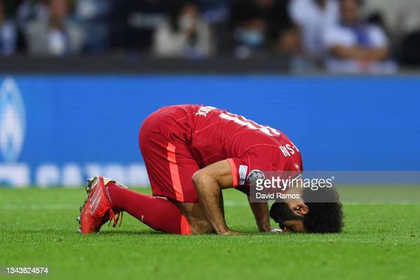 Mohamed Salah of Liverpool celebrates after scoring their sides third goal during the UEFA Champions League group B match between FC Porto and...