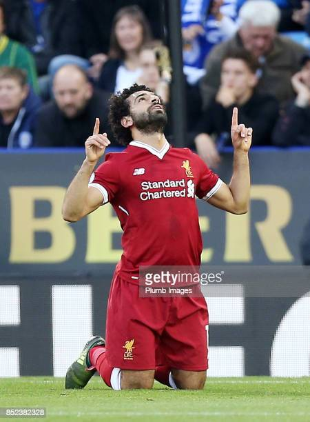 Mohamed Salah of Liverpool celebrates after scoring to make it 01 during the Premier League match between Leicester City and Liverpool at King Power...