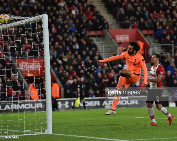 Mohamed Salah of Liverpool celebrates after scoringing liverpools second during the Premier League match between Southampton and Liverpool at St...