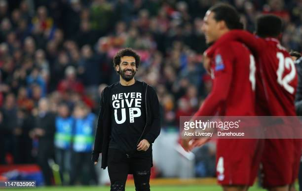 Mohamed Salah of Liverpool celebrates after the UEFA Champions League Semi Final second leg match between Liverpool and Barcelona at Anfield on May...