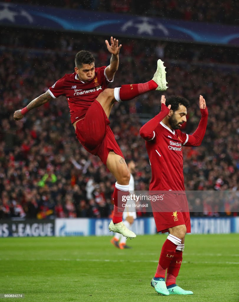 Liverpool v as roma uefa champions league semi final leg one mohamed salah of liverpool celebrates as he scores his sides second goal with roberto firmino during stopboris Images
