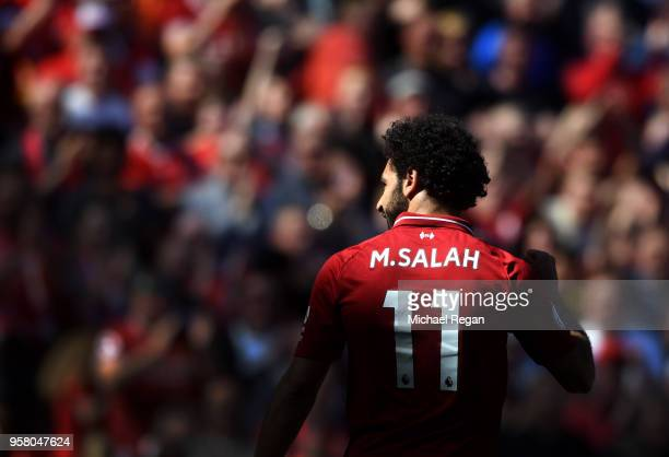Mohamed Salah of Liverpool celebrates during the Premier League match between Liverpool and Brighton and Hove Albion at Anfield on May 13 2018 in...