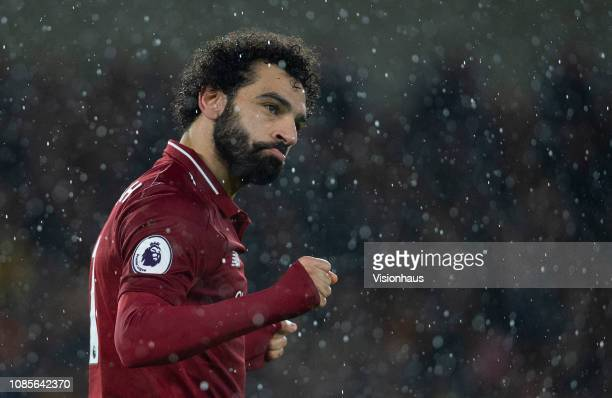 Mohamed Salah of Liverpool celebrates his goal during the Premier League match between Wolverhampton Wanderers and Liverpool FC at Molineux on...