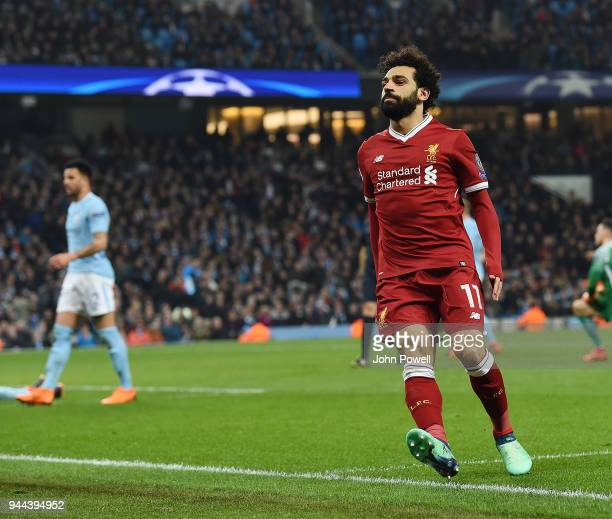 Mohamed Salah of Liverpool Celebrates his Goal during the UEFA Champions League Quarter Final Second Leg match between Manchester City and Liverpool...