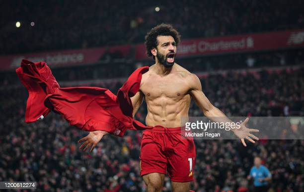 Mohamed Salah of Liverpool celebrates his goal to make it 20 during the Premier League match between Liverpool FC and Manchester United at Anfield on...