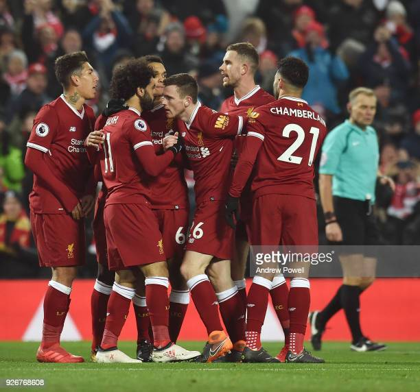 Mohamed Salah of Liverpool celebrates his opening goal during the Premier League match between Liverpool and Newcastle United at Anfield on March 3...
