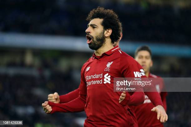 Mohamed Salah of Liverpool celebrates scoring from the penalty spot during the Premier League match between Brighton Hove Albion and Liverpool FC at...