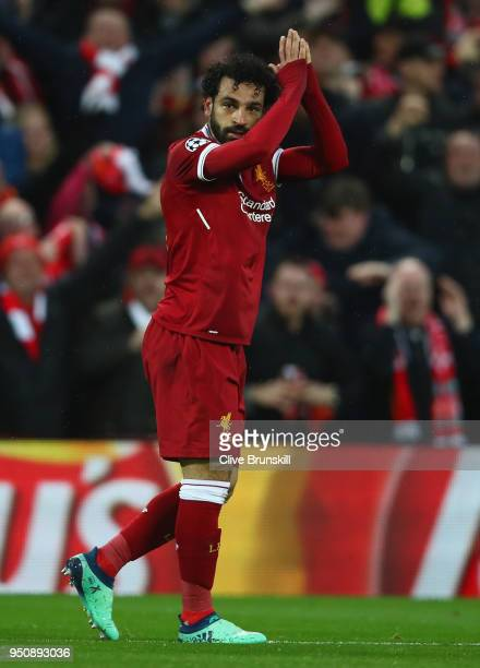 Mohamed Salah of Liverpool celebrates scoring his first goal during the UEFA Champions League Semi Final First Leg match between Liverpool and AS...