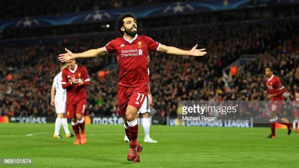 Mohamed Salah of Liverpool celebrates scoring his sides first goal during the UEFA Champions League group E match between Liverpool FC and NK Maribor...