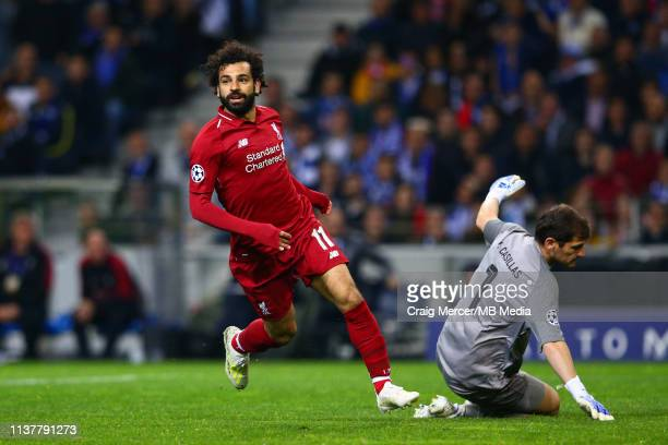 Mohamed Salah of Liverpool celebrates scoring his side's second goal during the UEFA Champions League Quarter Final second leg match between Porto...