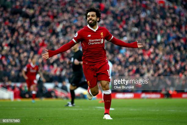 Mohamed Salah of Liverpool celebrates scoring his side's second goal during the Premier League match between Liverpool and West Ham United at Anfield...