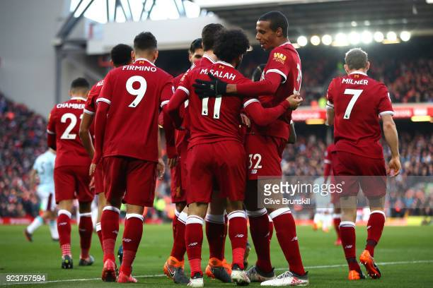 Mohamed Salah of Liverpool celebrates scoring his side's second goal with team mates during the Premier League match between Liverpool and West Ham...