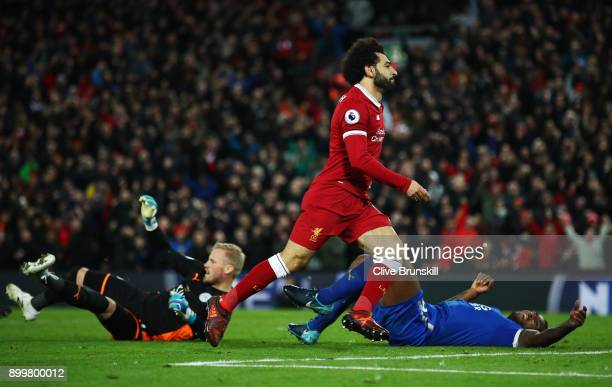 Mohamed Salah of Liverpool celebrates scoring his team's second goal during the Premier League match between Liverpool and Leicester City at Anfield...
