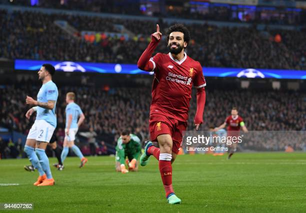 Mohamed Salah of Liverpool celebrates scoring the first goal during the Quarter Final Second Leg match between Manchester City and Liverpool at...