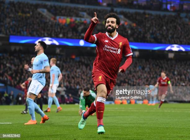 Mohamed Salah Of Liverpool Celebrates Scoring The First Goal During The Quarter Final Second Leg Match