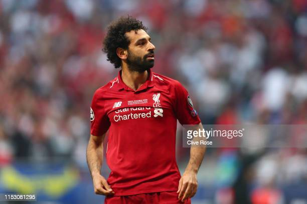 Mohamed Salah of Liverpool celebrates scoring the opening goal during the UEFA Champions League Final between Tottenham Hotspur and Liverpool at...