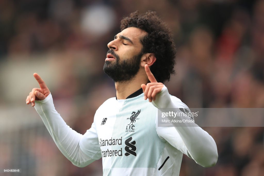 Mohamed Salah of Liverpool celebrates scoring their 2nd goal during the Premier League match between Crystal Palace and Liverpool at Selhurst Park on March 31, 2018 in London, England.