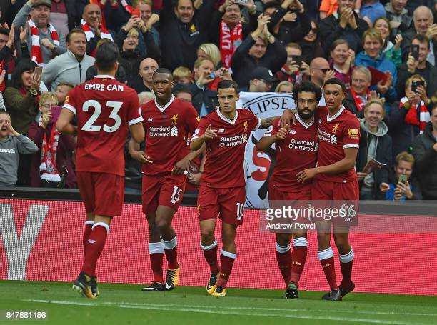 Mohamed Salah of Liverpool Celebrates the Equiliser during the Premier League match between Liverpool and Burnley at Anfield on September 16 2017 in...