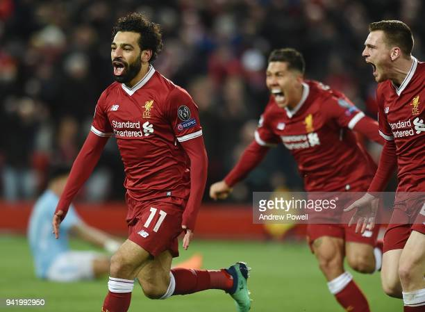 Mohamed Salah of Liverpool Celebrates the first goal during the UEFA Champions League Quarter Final Leg One match between Liverpool and Manchester...