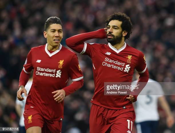 Mohamed Salah of Liverpool Celebrates the opening goal during the Premier League match between Liverpool and Tottenham Hotspur at Anfield on February...