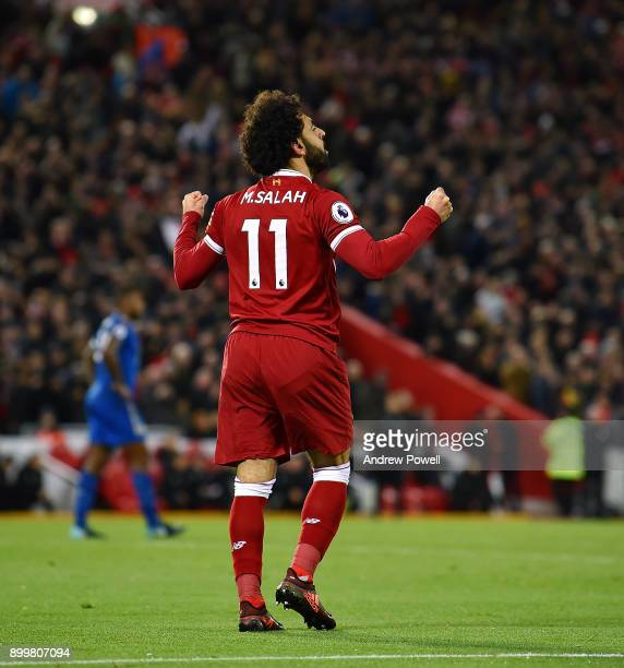 Mohamed Salah of Liverpool celebrates the second goal during the Premier League match between Liverpool and Leicester City at Anfield on December 30...