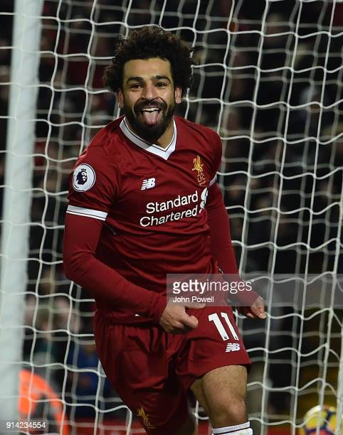 Mohamed Salah of Liverpool Celebrates the second Goal during the Premier League match between Liverpool and Tottenham Hotspur at Anfield on February...