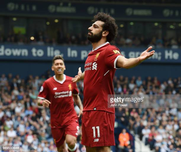 Mohamed Salah of Liverpool Celebrates the second goal during the Premier League match between West Bromwich Albion and Liverpool at The Hawthorns on...