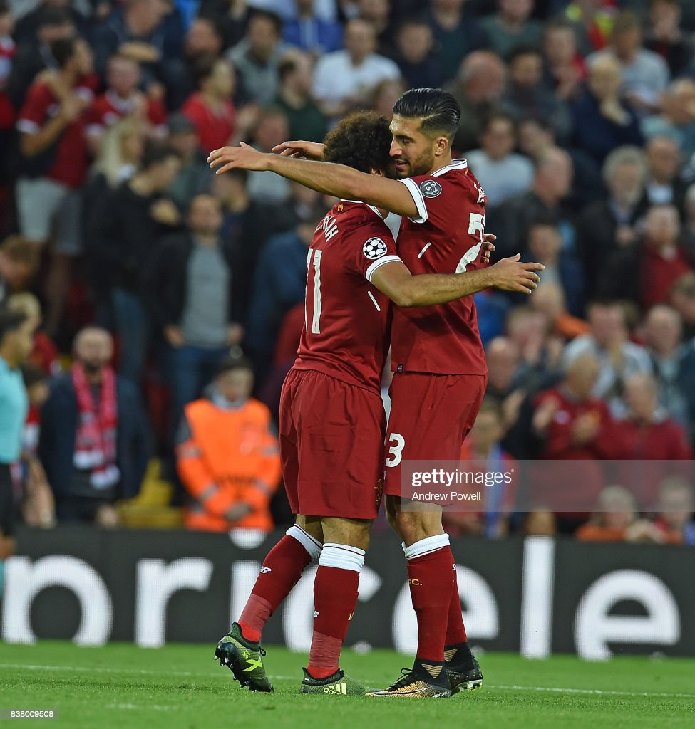 Mohamed Salah of Liverpool celebrates the second Goal during the UEFA Champions League Qualifying Play-Offs round second leg match between Liverpool FC and 1899 Hoffenheim at Anfield on August 23, 2017 in Liverpool, United Kingdom.