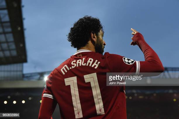 Mohamed Salah of Liverpool celebrates the second goal during the UEFA Champions League Semi Final First Leg match between Liverpool and AS Roma at...