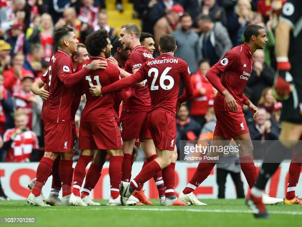 Mohamed Salah of Liverpool celebrates the third goal during the Premier League match between Liverpool FC and Southampton FC at Anfield on September...