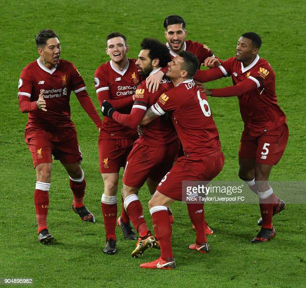 Mohamed Salah of Liverpool Celebrates the winner during the Premier League match between Liverpool and Manchester City at Anfield on January 14 2018...