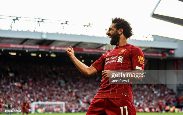 Mohamed Salah of Liverpool celebrating after scoring a goal during the Premier League match between Liverpool FC and Arsenal FC at Anfield on August...