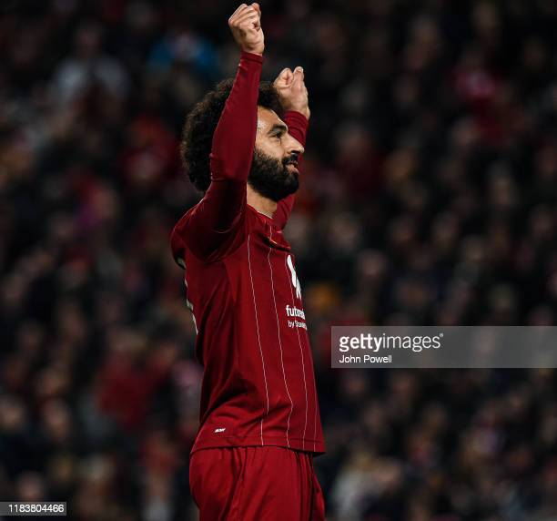 Mohamed Salah of Liverpool celebrating after scoring a penalty during the Premier League match between Liverpool FC and Tottenham Hotspur at Anfield...
