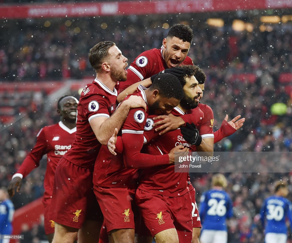 Mohamed Salah of Liverpool Celebratres his opener during the Premier League match between Liverpool and Everton at Anfield on December 10, 2017 in Liverpool, England.