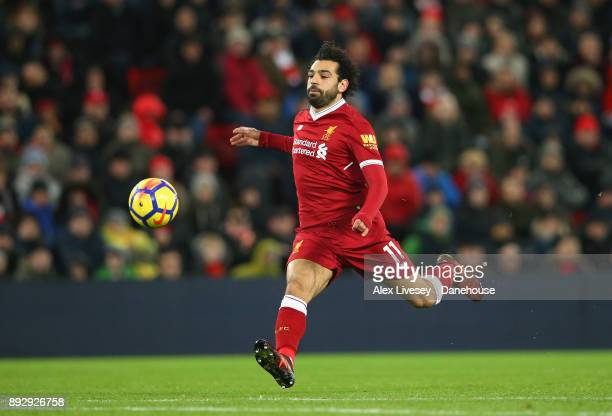 Mohamed Salah of Liverpool chases the ball during the Premier League match between Liverpool and West Bromwich Albion at Anfield on December 13 2017...
