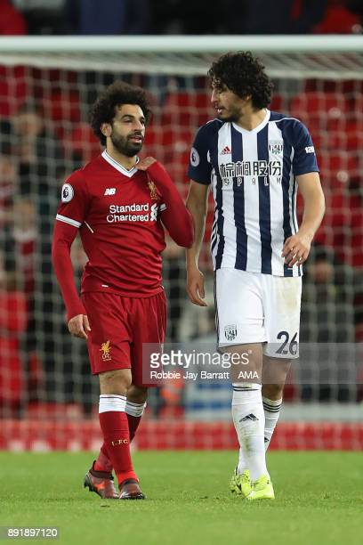 Mohamed Salah of Liverpool chats with Ahmed Hegazi of West Bromwich Albion at the end of the Premier League match between Liverpool and West Bromwich...