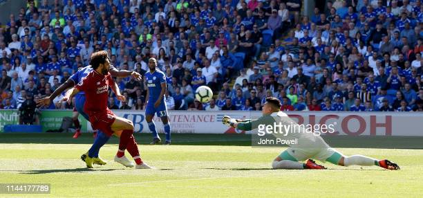 Mohamed Salah of Liverpool comes close during the Premier League match between Cardiff City and Liverpool FC at Cardiff City Stadium on April 21 2019...