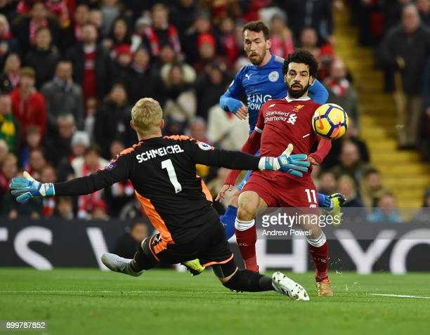 Mohamed Salah of Liverpool comes close during the Premier League match between Liverpool and Leicester City at Anfield on December 30 2017 in...