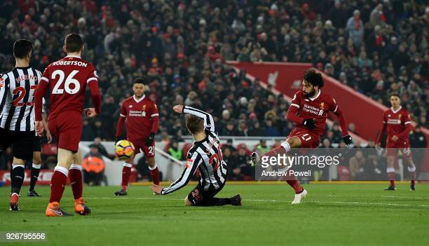 Mohamed Salah of Liverpool comes close during the Premier League match between Liverpool and Newcastle United at Anfield on March 3 2018 in Liverpool...