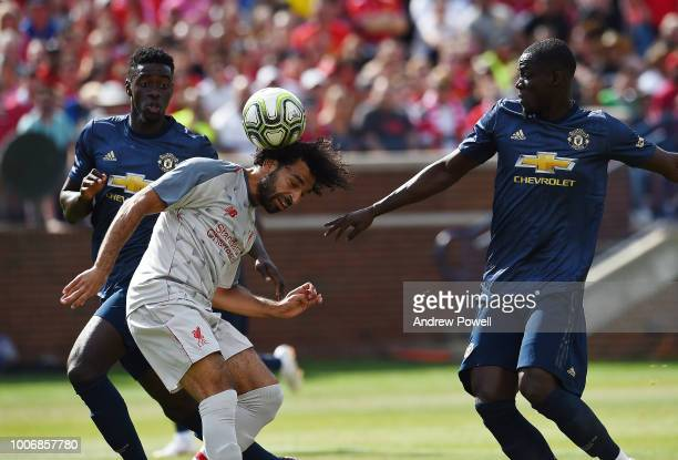 Mohamed Salah of Liverpool comes close to scoring a header during the International Champions Cup 2018 match between Manchester United and Liverpool...