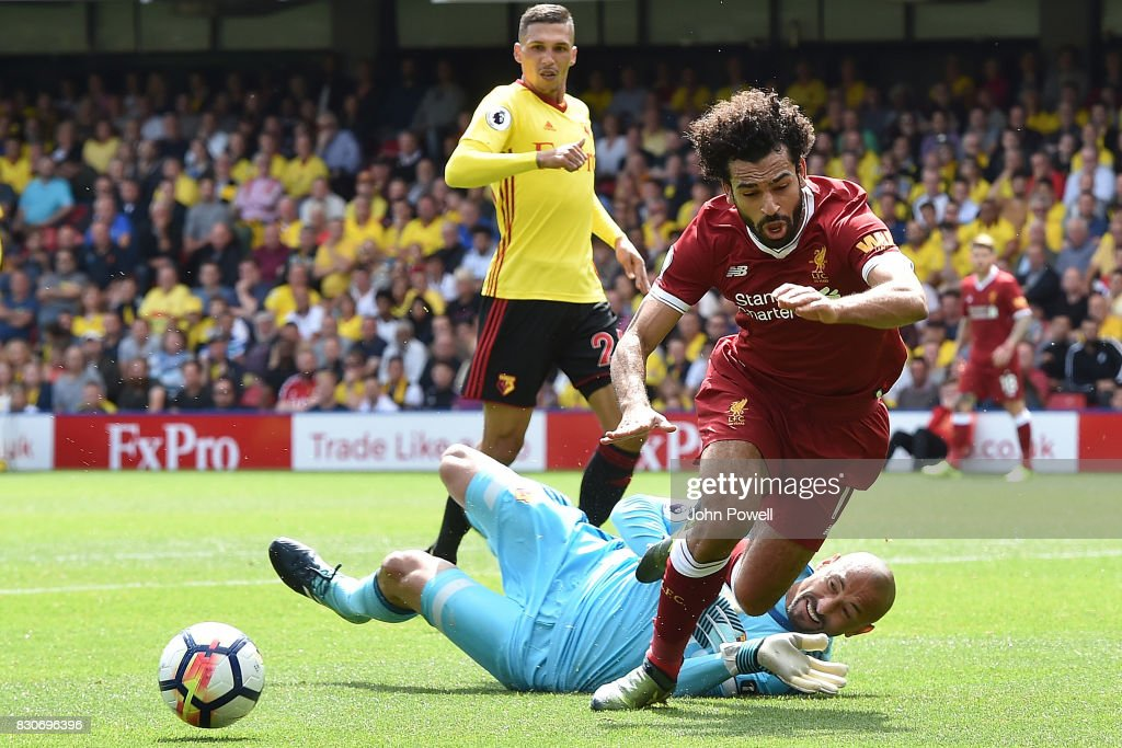 Mohamed Salah of Liverpool comes down in the watford box for a Penalty kick during the Premier League match between Watford and Liverpool at Vicarage Road on August 12, 2017 in Watford, England.