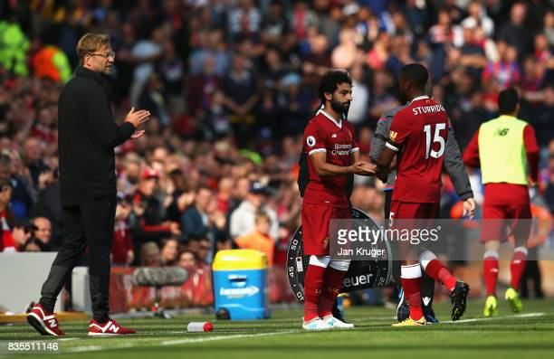 Mohamed Salah of Liverpool comes on for Daniel Sturridge of Liverpool during the Premier League match between Liverpool and Crystal Palace at Anfield...