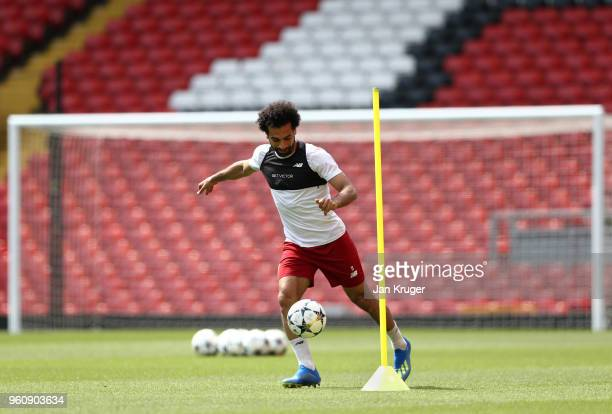Mohamed Salah of Liverpool controls the ball during a training session at Anfield on May 21 2018 in Liverpool England