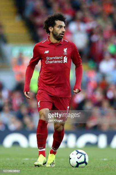 Mohamed Salah of Liverpool controls the ball during the Premier League match between Liverpool FC and Brighton Hove Albion at Anfield on August 25...