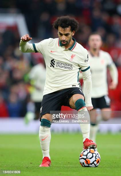 Mohamed Salah of Liverpool controls the ball during the Premier League match between Manchester United and Liverpool at Old Trafford on October 24,...