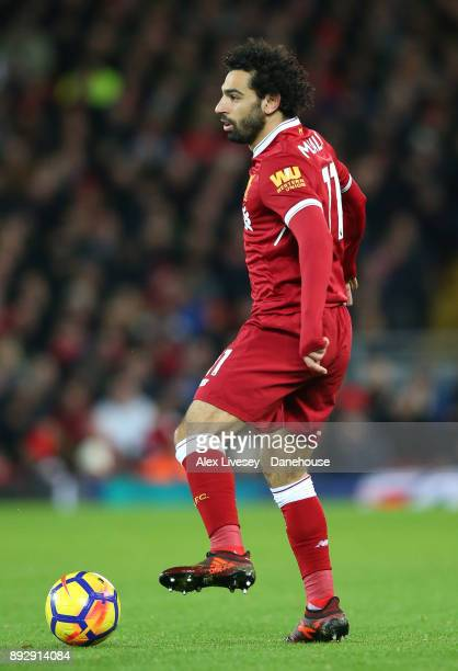 Mohamed Salah of Liverpool controls the ball during the Premier League match between Liverpool and West Bromwich Albion at Anfield on December 13...