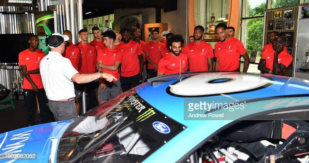 Mohamed Salah of Liverpool during a tour of Roush Fenway Racing on July 21 2018 in Charlotte North Carolina